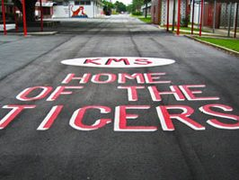 KMS Home of The Tigers painted on the pavement