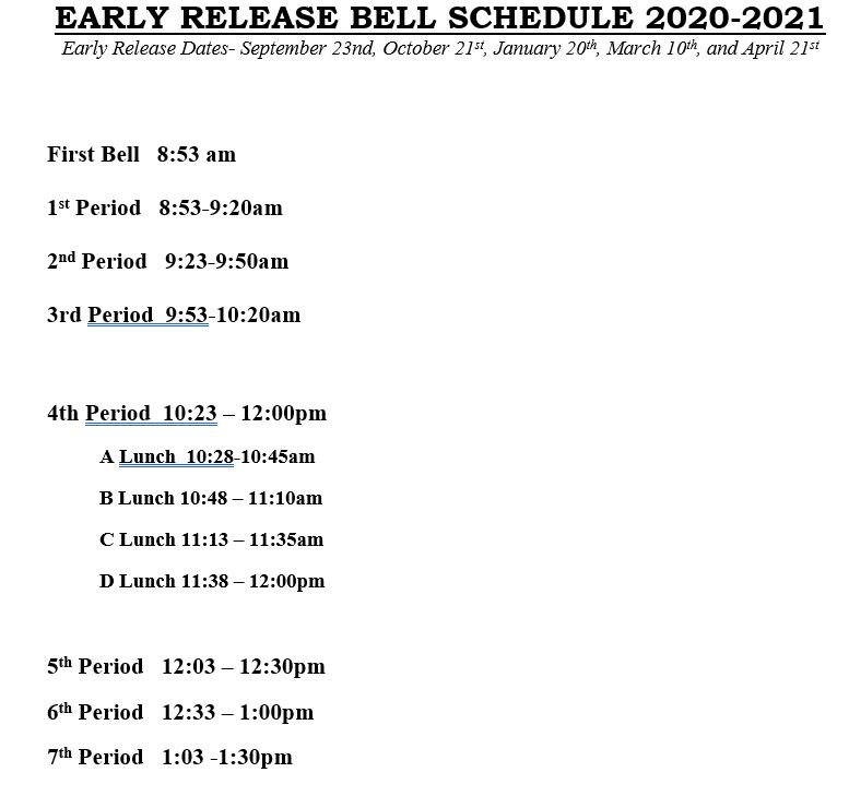 Student Early Release Dismissal is at 1:30